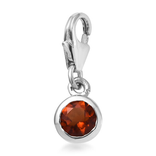 Madeira Citrine (Rnd) Charm in Platinum Overlay Sterling Silver 0.50 Ct.