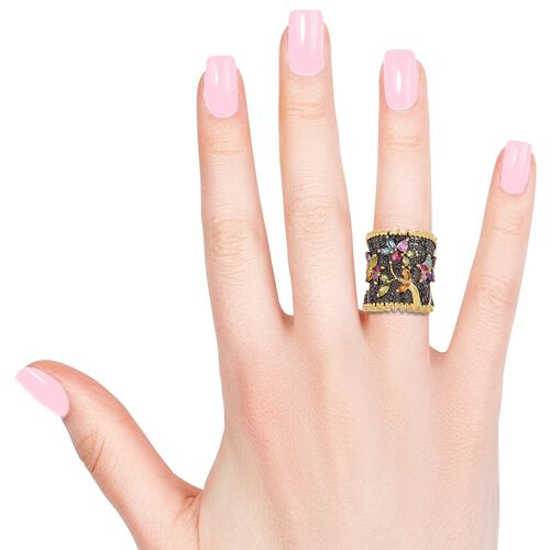 Designer Inspired- Multi Gemstone Flower and Leaves Ring in Black and Yellow Gold Overlay Sterling Silver 3.760 Ct. Silver wt 9.86 Gms.