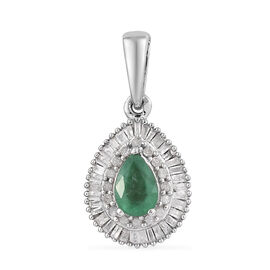 1 Carat AA Zambian Emerald and Diamond Halo Pendant in Platinum Plated Sterling Silver