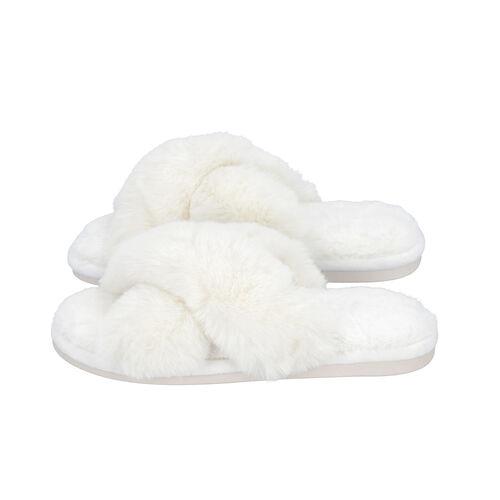 Super Soft Faux Fur Cross Band Slippers (Size L: 7-8) - Ivory
