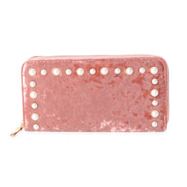 Luxe Velvet Pink RFID Blocker Clutch Wallet with White Simulated Pearl Studded (Size 19x10x2.5 Cm Large Phone Can Fit in )