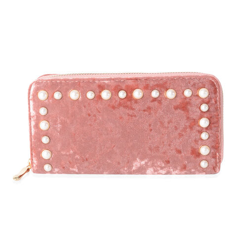 Luxe Velvet Pink RFID Blocker Clutch Wallet with White Simulated Pearl Studded (Size 19x10x2.5 Cm La