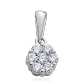 0.50 Carat Pressure Set Diamond Floral Pendant in 9K White Gold SGL Certified I3 GH