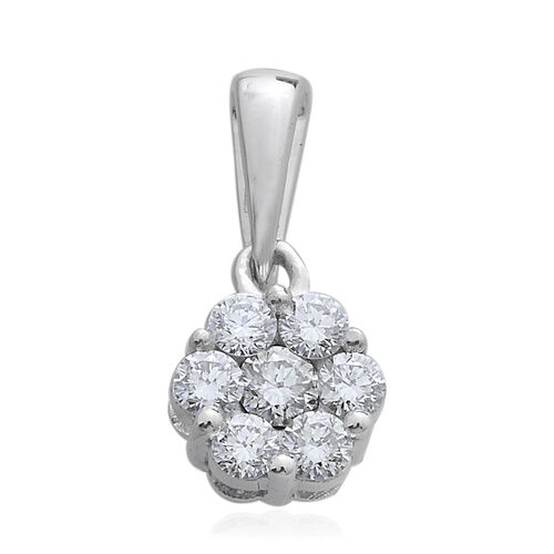 Limited Edition- 9K White Gold SGL Certified Pressure-Set Diamond (Rnd) (I3/G-H) Floral Pendant 0.500 Ct.