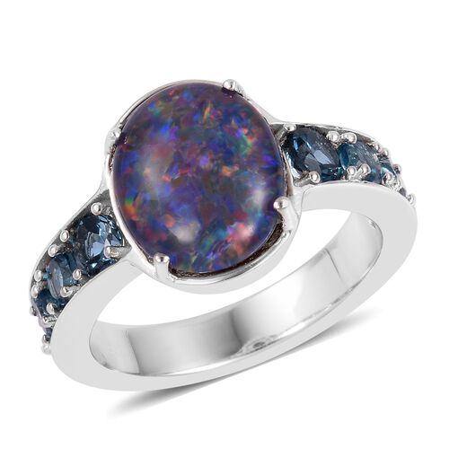 One Time Deal -Australian Boulder Opal (Ovl 11x9mm), London Blue Topaz Ring in Rhodium Plated Sterling Silver