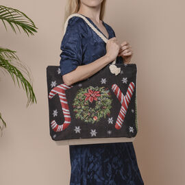 Christmas Collection JOY Print Jute Tote Bag (Size 42x34x9x37cm) - Black