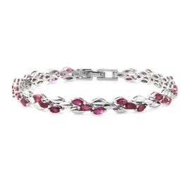 6.25 Ct African Ruby Bracelet in Platinum Plated Sterling Silver 10.39 Grams 7.5 Inch