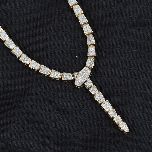 Diamond Serpent Necklace (Size 18) in 14K Gold Overlay Sterling Silver 1.50 Ct, Silver wt. 14.50 Gms