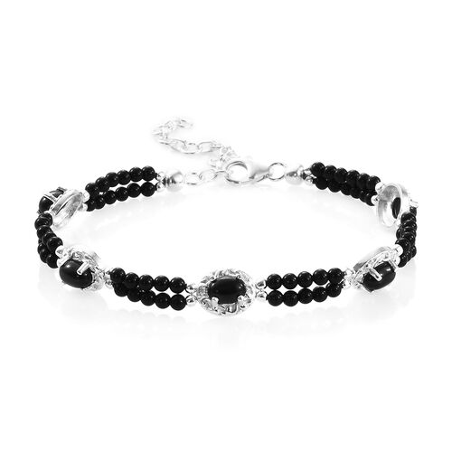 Boi Ploi Black Spinel (Ovl 7x5 mm), Black Beads Bracelet (Size 7.50 with 1.5 inch Extender) in Sterl