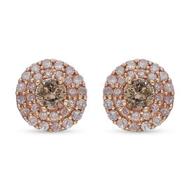 9K Rose Gold  Natural Champagne & Pink Diamond Stud Earrings (with Push Back) 0.50 Ct.
