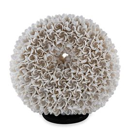 Bali Collection - Handcrafted Seashell Table Lamp Frangipani Motif (Size 20 Cm)