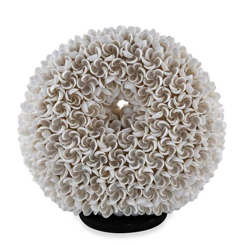 Bali Collection - Handcrafted Seashell Table Lamp Frangipani Motif (Size 20 Cm)