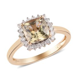 9K Yellow Gold Diaspore and Diamond Halo Ring  1.90 Ct.