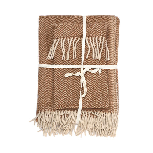 New Arrival- 2 Piece Set - Herringbone Pattern Wool Throw Blanket with Fringe (Size 135x170cm) and Cushion Cover with Zipper Closure and Flap Over (43x43cm) - Brown