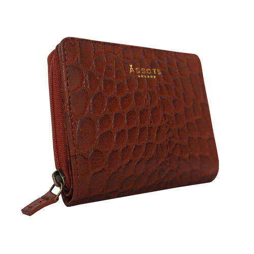 Assots London Croc Embossed Leather Zip Purse (Size 12x10cm) - Red