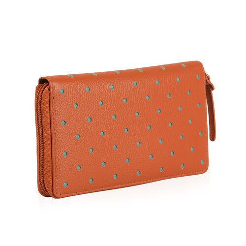 Cecilla Laser Cut Design RFID 100% Genuine Leather Orange Colour Polka Dot Pattern Long Wallet (Size 20x10 Cm)