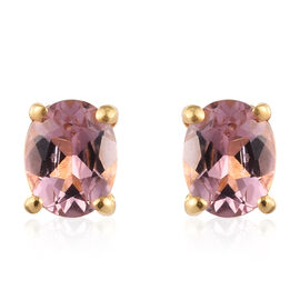Pink Tourmaline Stud Earrings in 14K Gold Overlay Sterling Silver