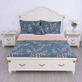 SERENITY NIGHT : 4 Piece Set Silk Quilt with Cotton Printed Cover 2 Pillow Cases Cushion Cover - Blue
