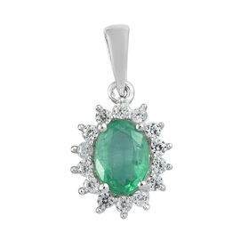1.03 Ct Emerald and Cambodian Zircon Pendant in Platinum Plated Sterling Silver