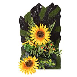 Home Decor - Wall Hanging Artificial Sunflower Frame (Size 38x23.5 Cm) - Colour Yellow,Green and Whi