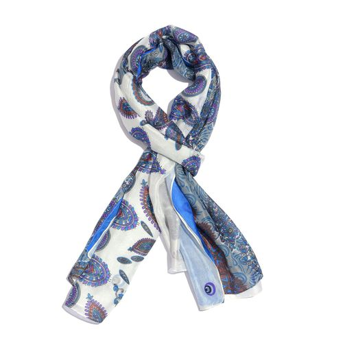 100% Mulberry Silk Blue, White and Multi Colour Handscreen Floral and Paisley Printed Scarf (Size 20