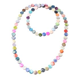Multicolour Shell Coin Beaded Necklace 50 Inch
