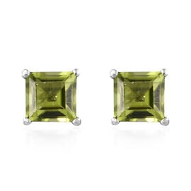 Chinese Peridot (2.25 Ct) Platinum Overlay Sterling Silver Earring  2.250  Ct.