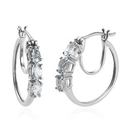 Espirito Santo Aquamarine (Ovl) Hoop Earrings (with Clasp) in Platinum Overlay Sterling Silver 1.25