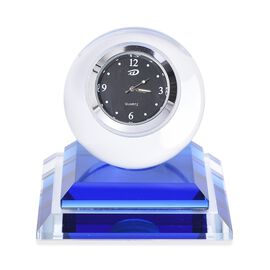 Blue Colour Crystal Table Clock (Size 7.5x8 Cm)
