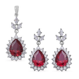2 Piece Set - ELANZA Simulated Ruby (Pear 13x10 mm), Simulated Diamond Drop Dangle Earrings (with Pu