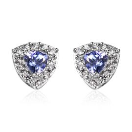 Tanzanite (Trl), Natural Cambodian Zircon Stud Earrings (with Push Back) in Platinum Overlay Sterlin