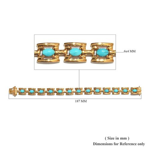 AA Arizona Sleeping Beauty Turquoise Bracelet (Size 7) in 14K Gold Overlay Sterling Silver 6.00 Ct., Silver wt 17.49 Gms