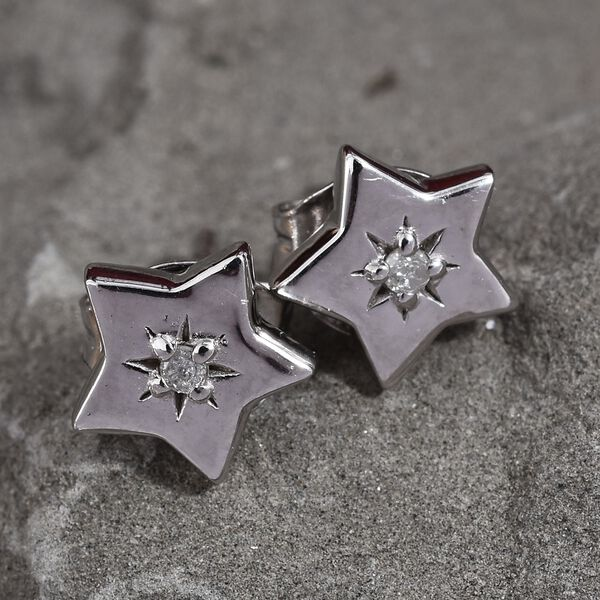 Natural Diamond (Rnd) Star Stud Earrings (with Push Back) in Platinum Overlay Sterling Silver