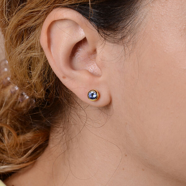 Tanzanite Stud Earrings in Yellow Gold Overlay Sterling Silver 1.00 Ct.