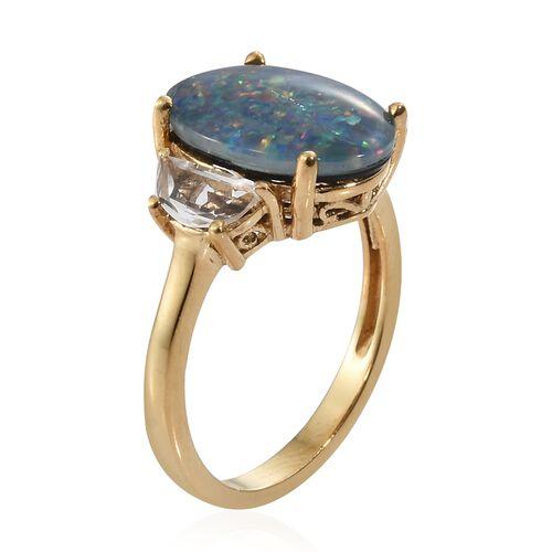 Very Rare Size Australian Boulder Opal (Ovl 16x12 mm), White Topaz Ring in 14K Gold Overlay Sterling Silver.