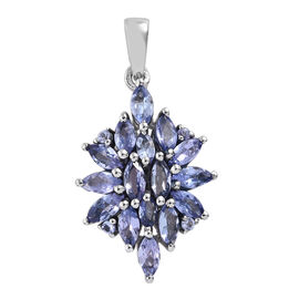 Tanzanite (Mrq) Cluster Pendant in Platinum Overlay Sterling Silver 2.000 Ct.