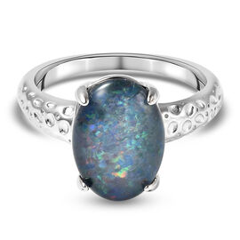 RACHEL GALLEY Boulder Opal Ring in Rhodium Overlay Sterling Silver