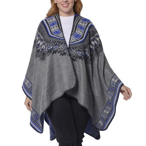 Designer Inspired- Grey Colour National Style Pattern Kimono (Size 132x72 Cm)