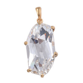 J Francis -Crystal from Swarovski - White Colour Crystal Pendant in 14K Gold Overlay Sterling Silver