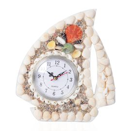 Hand Crafted Natural multi Colour Shell Decorated Wall Clock (Size 23x20 Cm) - Boat