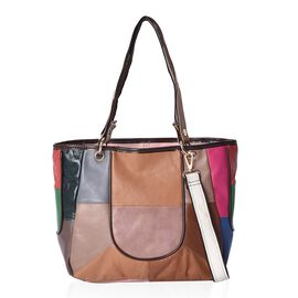 MOROCCO COLLECTION 100% Genuine Leather Multi Colour Blocking Tote Bag (Size 30x11x26 Cm) with Detac