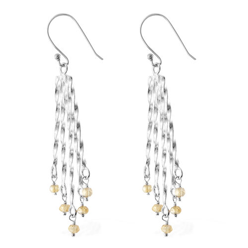 Couture Collection- Citrine (Rnd) Hook Earrings in Rhodium Overlay Sterling Silver 1.600 Ct, Silver wt 5.26 Gms