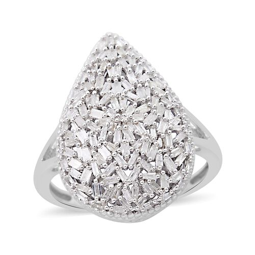 Diamond (Bgt) Ring in Platinum Overlay Sterling Silver 0.750 Ct. Silver wt 5.48 Gms. Number of Diamonds 125