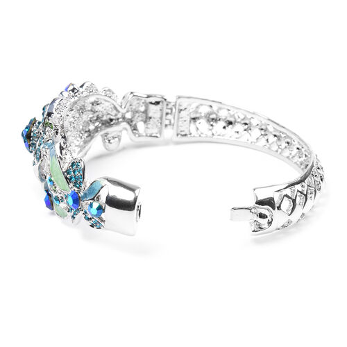 Multi Colour Austrian Crystal Enamelled Bangle (Size 6.50) in Silver Tone