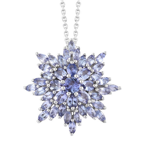 Tanzanite (Rnd) Snowflake Pendant With Chain (Size 18) in Platinum Overlay Sterling Silver 4.080 Ct,