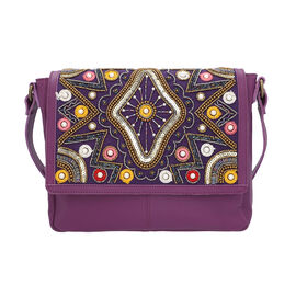 100% Genuine Leather Purple Crossbody Bag with Multi Colour Embellishments (28x25x6cm)