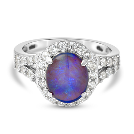 Australian Boulder Opal and Natural Cambodian Zircon Ring in Rhodium Overlay Sterling Silver 2.98 Ct