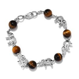Tigers Eye and Elephant Bracelet (Size 7.5) in Platinum Plated 30.00 Ct.
