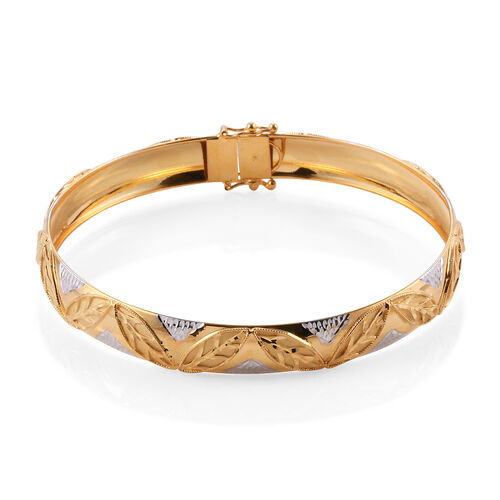 Royal Bali Collection 9K White, Yellow Gold Bangle (Size 7.75), Gold wt 7.21 Gms.