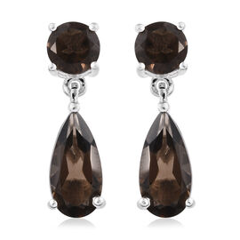 Brazilian Smoky Quartz (Pear) Earrings in Sterling Silver 5.000 Ct.